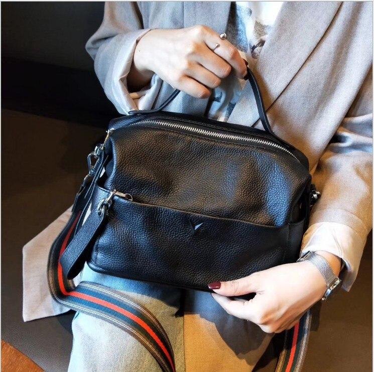 Sacs à bandoulière en cuir véritable femmes Vintage oreiller en cuir de vache sac à main de femme pour fille dames solide décontracté messenger sacs tot - 2