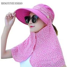 купить Summer Sun Hats For Women Anti UV With Foldabe Scarf Hat little Flower Design Protect The Neck Turban Bowknot Caps Sun Hat по цене 449.41 рублей