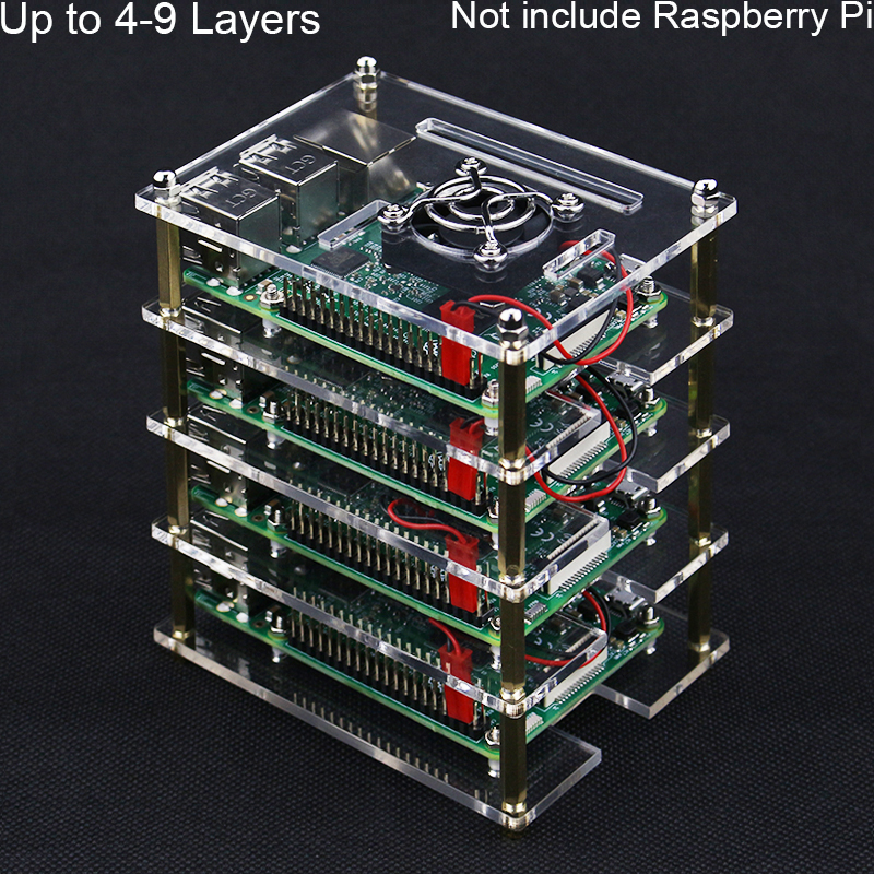 Raspberry Pi 4 5 6 7 8 9 Layers Acrylic Case Holder Box + Cooling Fan With Metal Cover For Raspberry Pi 4 /3 Model B+/3B