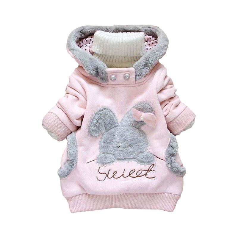 Yeni Kız Ceket Karikatür Tavşan Kız Sonbahar Kapüşonlu Peluş - Çocuk Giyim