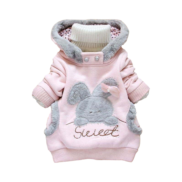 New Girls Coat Cartoon Rabbit Girl Autumn Hooded Plush Outwear Full Sleeve Casual Kids Clothes Children Cotton kids Clothing