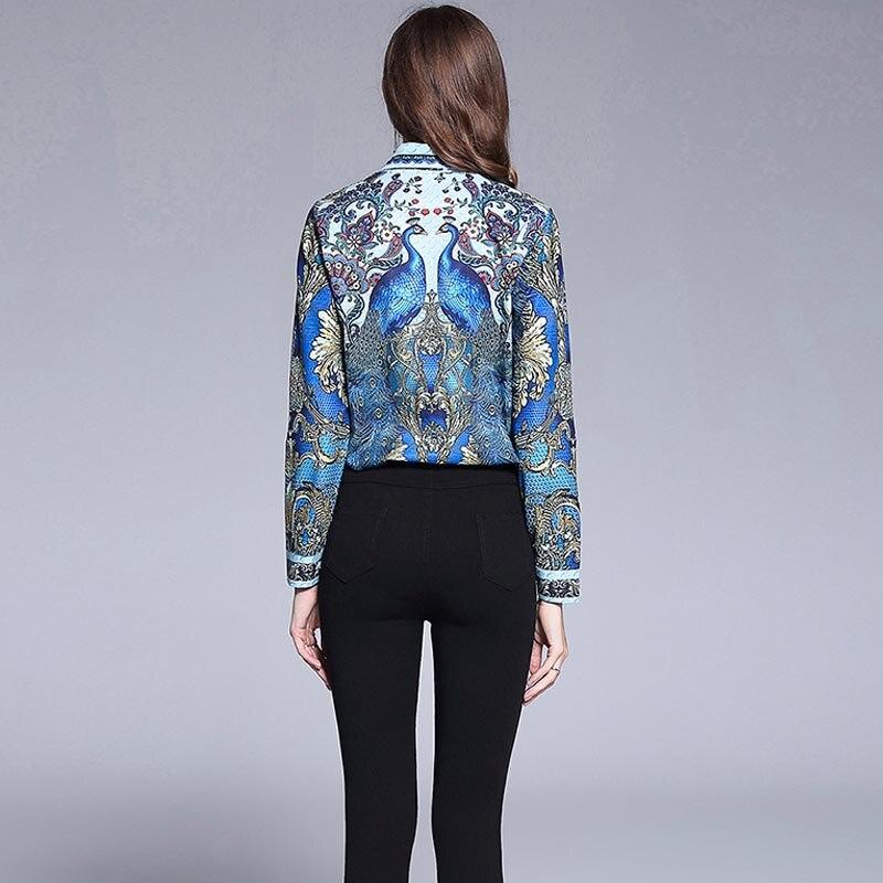 JKKFZY Women Luxury Shirt 2018 Summer New Fashion Peacock Print Long Sleeves Shirt Elegant Casual Blouse Female Vintage