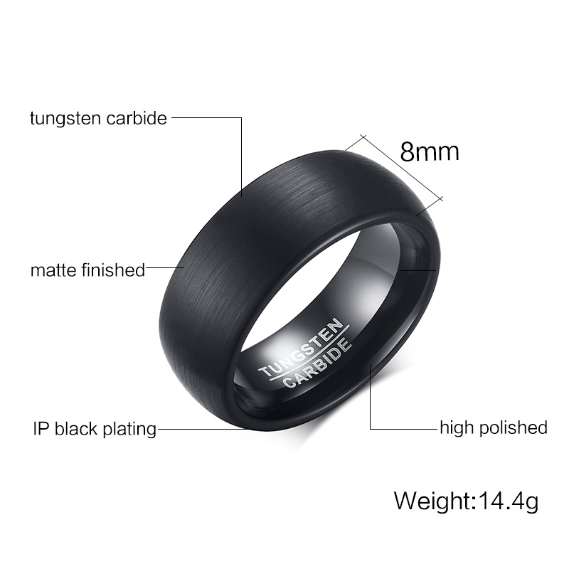 Jewelry Anillos Fashion 8mm Mens Rings Carbide Beveled For Edges Promise Wedding Jewelry tcr-036