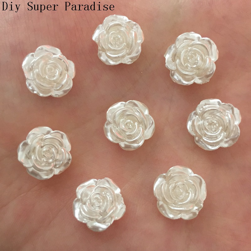 Hot 80PCS 12mm Resin Flower Flatback Stone Embellishment DIY Beads Crafts Scrapbook K479*2