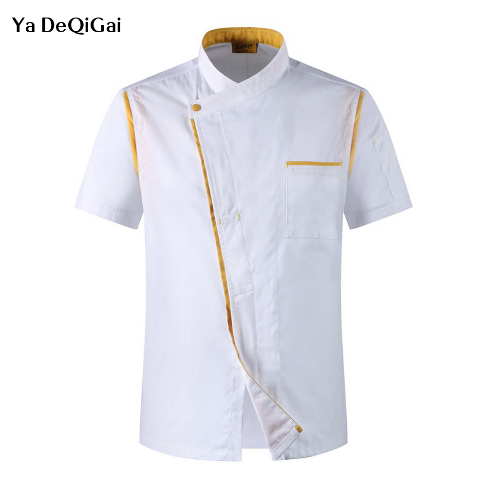 Wholesale Hotel Restaurant Kitchen Uniforms Short Sleeve Chef Jackets Catering Chef's Work Clothes Coffee Waitress Chef Uniform