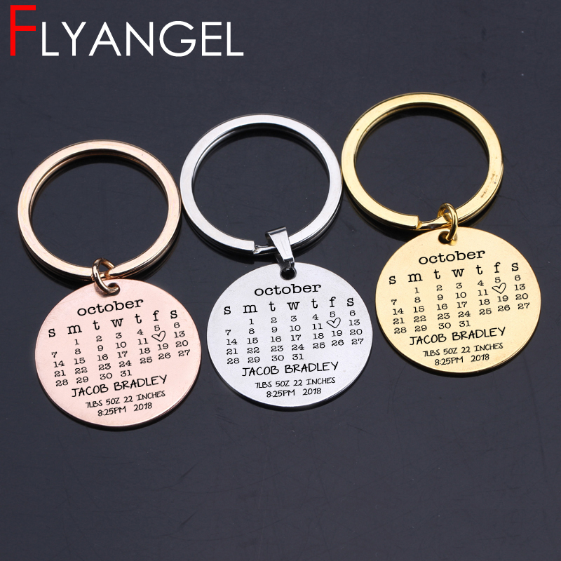US $2 95 30% OFF|Fashion Custom New Baby Name Birthday Calendar Keychain  High Quality Key Holder New Baby Souvenir Keyring New Dad Mother Gifts-in  Key