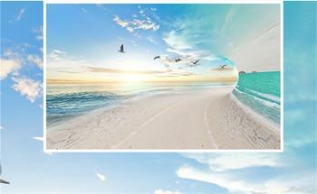 Materiali Resistenti Al Calore | 3D Foto Personalizzata Carta Da Parati Mare Cielo Paesaggio Gabbiano Carte Da Parati Murale Complementi Arredo Casa Da Cucina Carta Da Parati Divano Sfondo Muro Di Carta