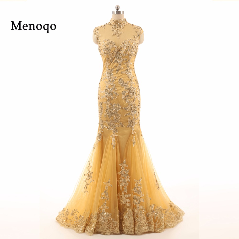 7111W High collar Floor Length Evening Gown Mermaid Long Applique   Prom     Dress   Real Picture vestido longo