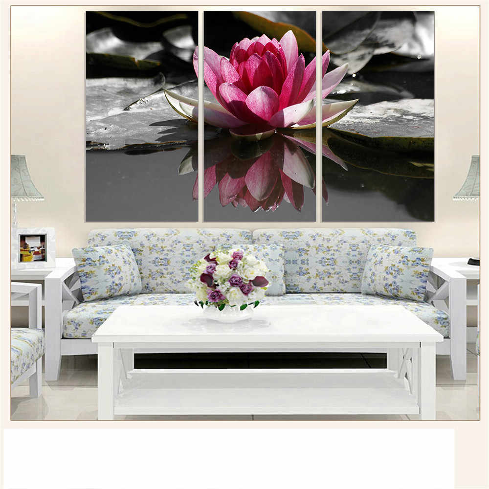 Modern Canvas Painting Lotus Print Home Decoration Flower Ink Painting Unframed Wall Picture for Room Wall Decor Panels 3 Pieces