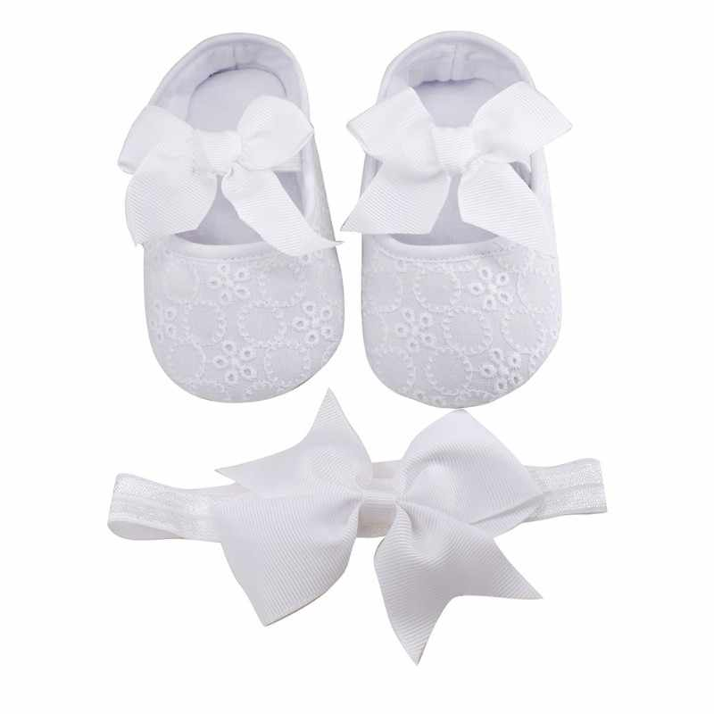 newborn baby Shoes baptism White Bowknot Baby Girl Lace Shoes headband set Toddler Prewalker cute Baby Shoe 0-18month kids shoes