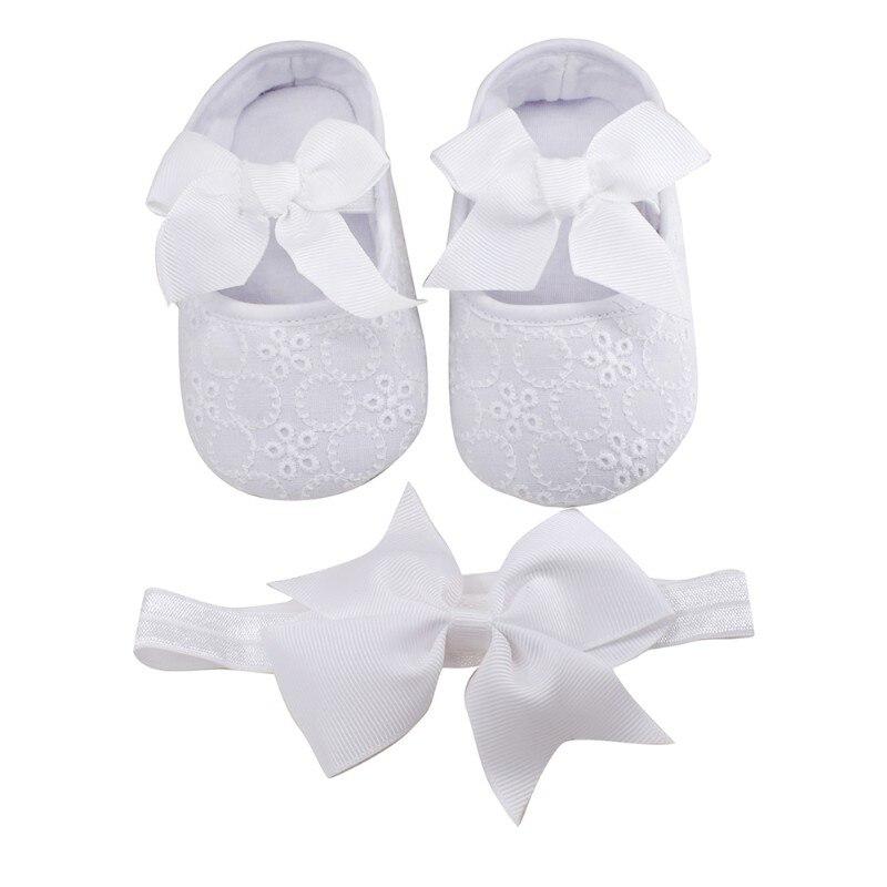 Us 458 Neugeborenen Baby Schuhe Taufe Weiß Bowknot Baby Mädchen Spitze Schuhe Stirnband Set Kleinkind Prewalker Nette Baby Schuh 0 18month Kinder