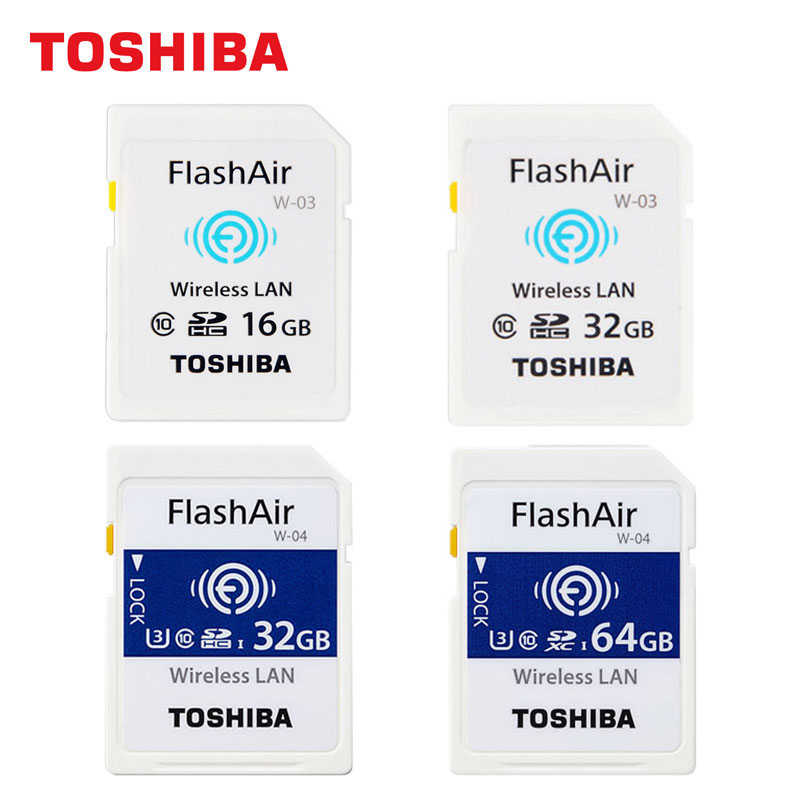 TOSHIBA WIFI SD Card 16 gb 32 gb W-03 SDHC FlashAir 64 gb W-04 SDXC U3 C10 SLR scheda di Memoria della Fotocamera carta 4 k di Ripresa di Trasmissione Senza Fili