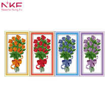 NKF The present Red rose flower decor painting counted printed on canvas DMC 14CT 11CT chinese Cross Stitch Embroidery kits