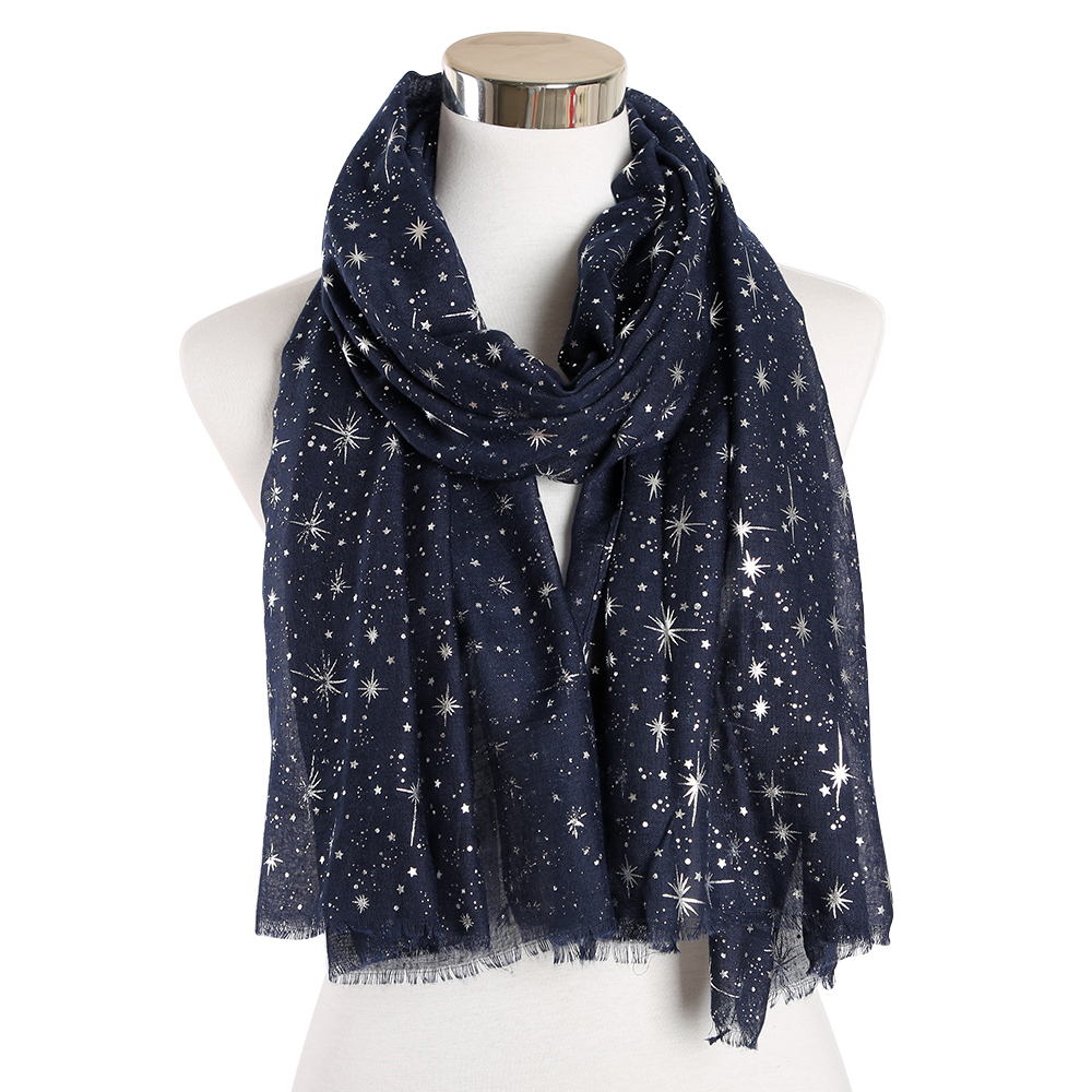 FOXMOTHER New Autumn And Winter Pink Navy Star Print Scarf Women Foil Sliver Hijab Scarves Glitter Galaxy Shawl Wrap Ladies 2019 in Women 39 s Scarves from Apparel Accessories