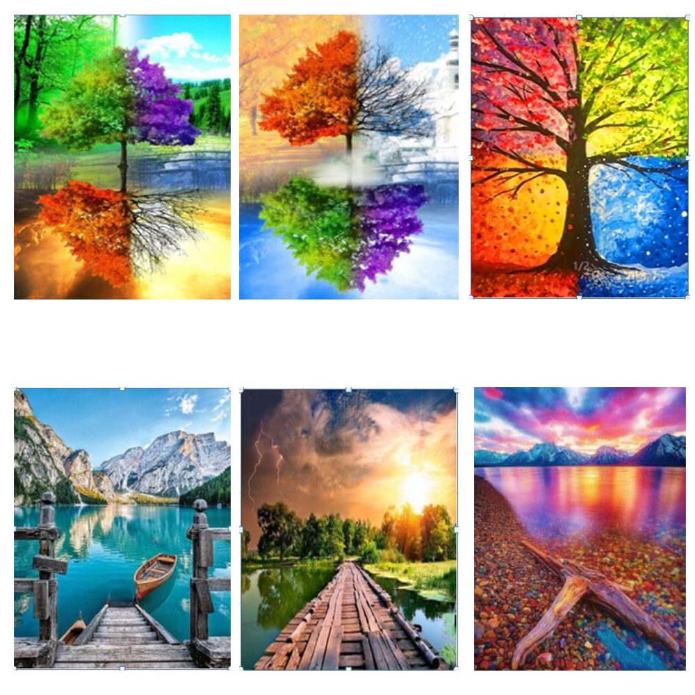 diamond painting landscape lake scenery water