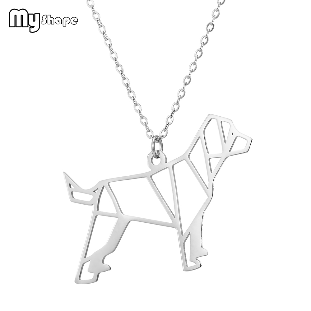 My Shape Geometric Hollow Dog Cartoon Animals Pendant Stainless Steel Jewelry Chain  Necklace Women