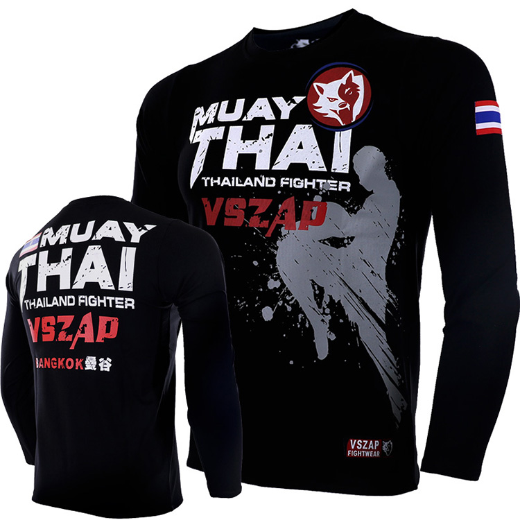 VSZAP MUAY THAI Fighting For Long Sleeve T-shirt MMA Sports THAI Boxing For Fitness Fighting  Man