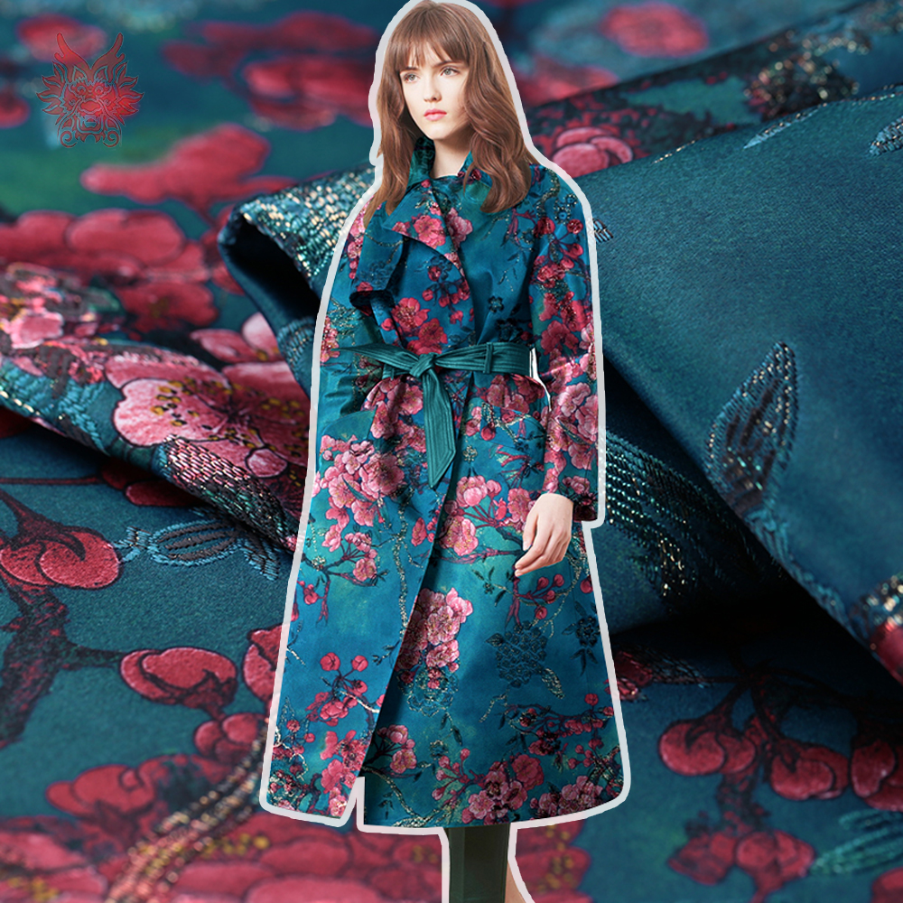 French style luxury floral print metallic jacquard brocade fabric for dress coat cloth tissu tecidos stoffen SP4545 FREE SHIP
