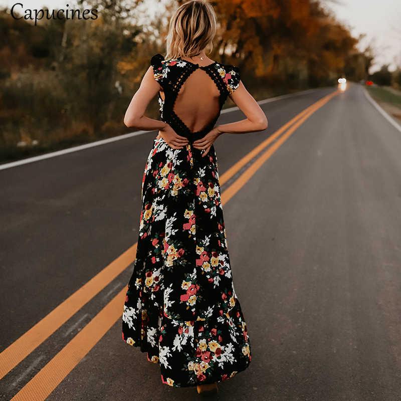 833fc767c94 ... Элегантный Цветочный принт шнурок спинки макси платье Sexy Глубокий V  шеи 2018 летнее платье Для женщин ...