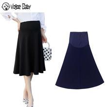 Модная Корейская Новинка, стрейчевая юбка для беременных, юбка с подъемом живота, платье, 7479