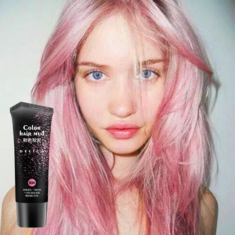 Disposable 6 Colors Hair Pomade Romantic Pink Quickly Shaping Hair Color Mud Temporary Fashion Hair Style Product 50ml