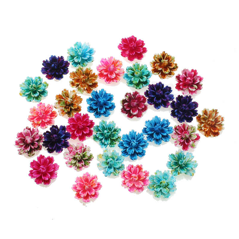 50Pcs 12x13mm Resin Flowers Decorations Crafts Flatback Cabochon Embellishments For Scrapbooking Diy Accessories