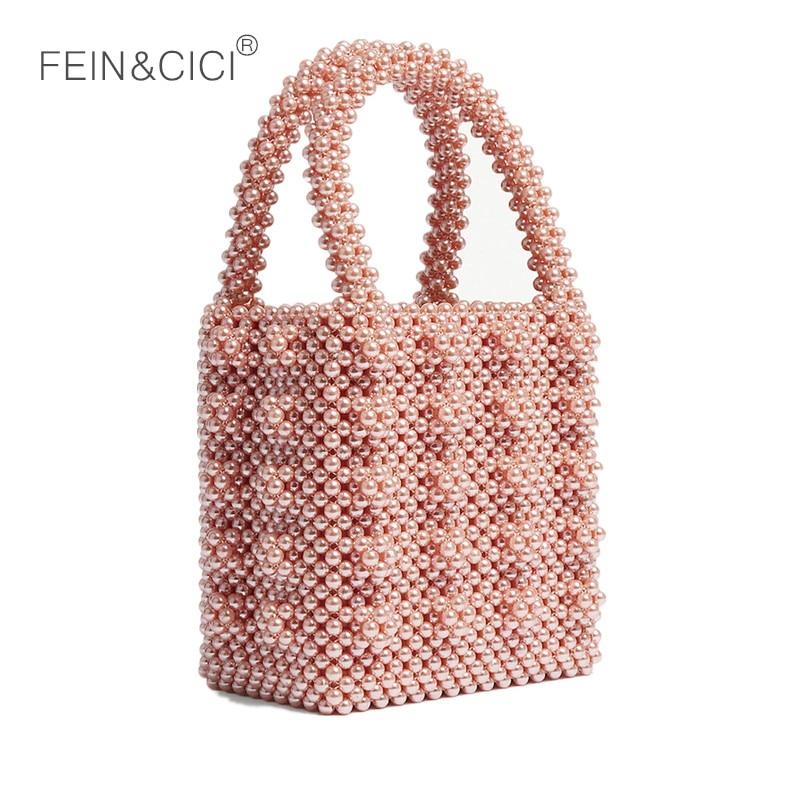 pearls bag beaded box totes bag women party elegant <font><b>handbag</b></font> 2018 summer luxury brand white <font><b>yellow</b></font> pink wholesale drop shipping