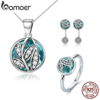 BAMOER Authentic 925 Sterling Silver Jewelry Set Green Crystal CZ Tree of Life Bridal Jewelry Set Sterling Silver Christmas Gift