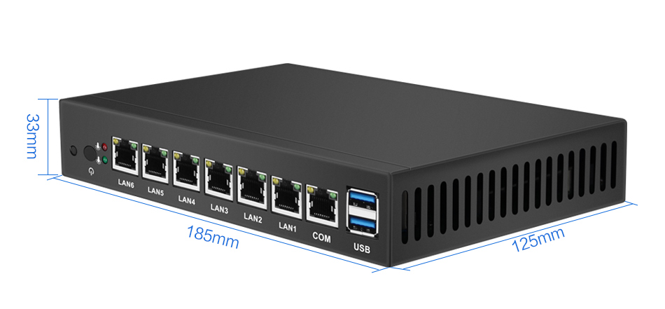XCY Mini PC with 6*LAN Gigabit Ethernet and Intel Celeron 1037U Processor for Windows and Linux OS 14