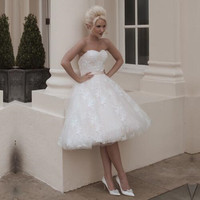 Ball Gown Sleeveless Vestido De Noiva Robe De Mariage Trouwjurk White Knee Length Bridal Dresses Short