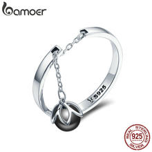 BAMOER Hot Sale Authentic 925 Sterling Silver Tears Of Flowers Dangle Open Finger Rings for Women Sterling Silver Jewelry SCR314(China)