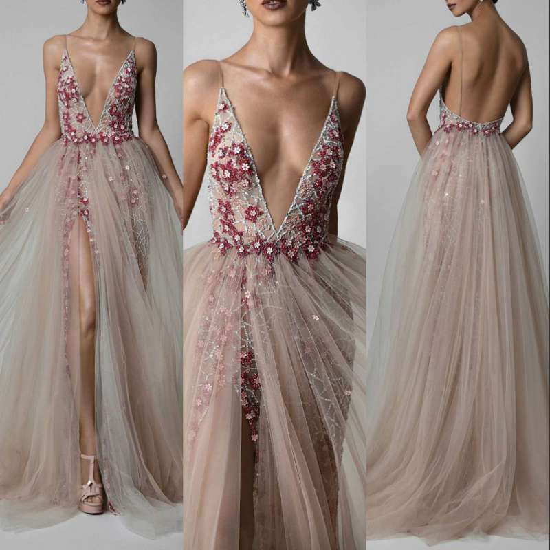 Sexy Long   Evening     Dress   Prom   Dresses   Beaded Rhinestones Tulle Women Formal Gown For Prom Wedding Party   Dresses   Robe De Soiree
