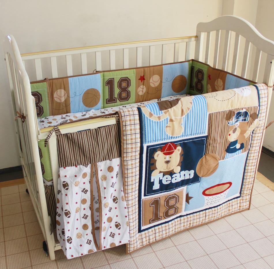 unids juego de cama beb bordado gorra de bisbol del oso combinacin cuna sbana edredn