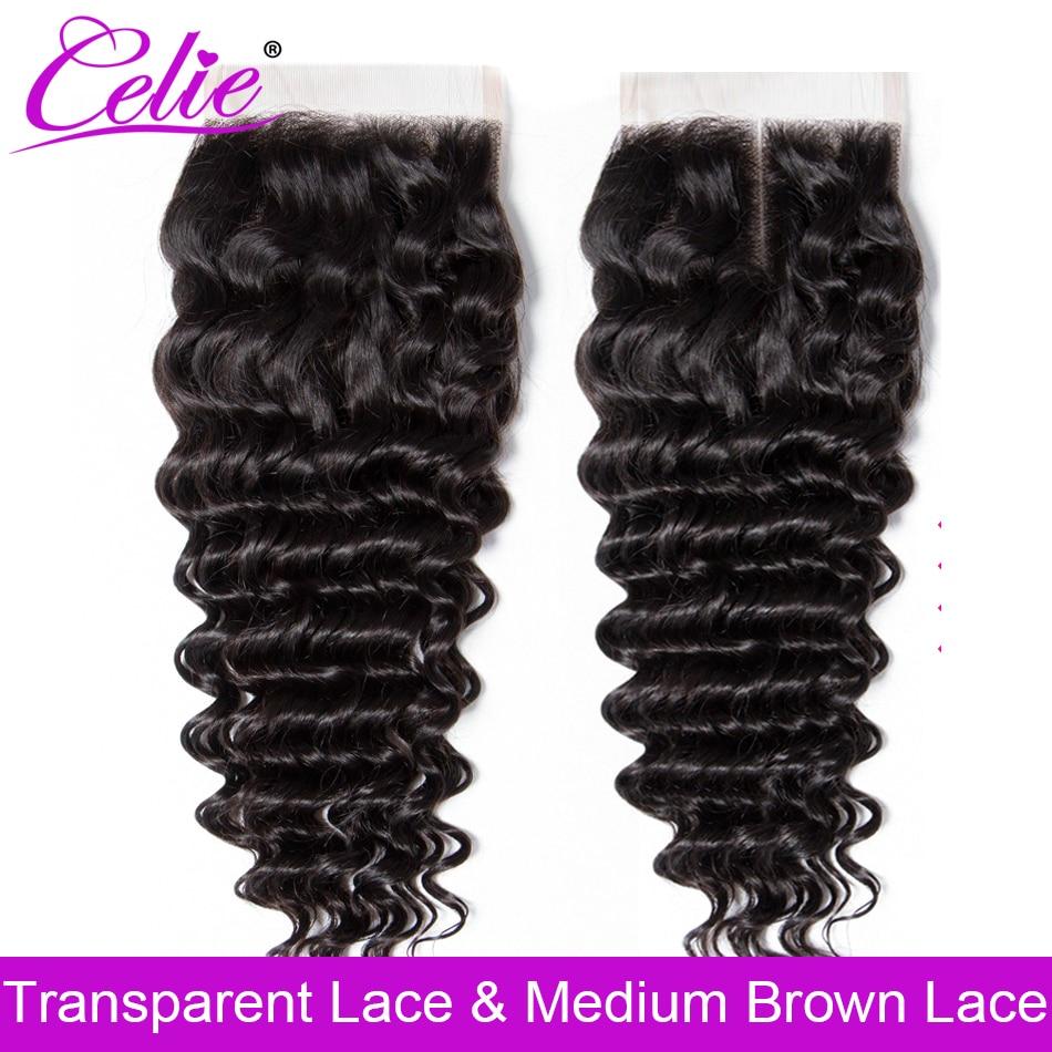 Волосы Celie с глубокой волной, застежка 4x4 HD, прозрачная швейцарская кружевная застежка, бразильские человеческие волосы без повреждений, кру...
