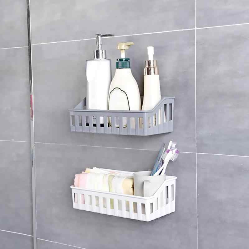 Wall Hanging Bathroom Shelves Storage Shelf Rack Plastic Bathroom Shampoo Holder Cosmetics Organizer for Kitchen