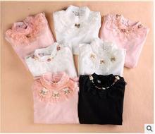 Mignon Dentelle shirts pour enfants 2016 Printemps 100% pur coton enfants Render Shirt de bébé filles vêtements doux à manches longues tops
