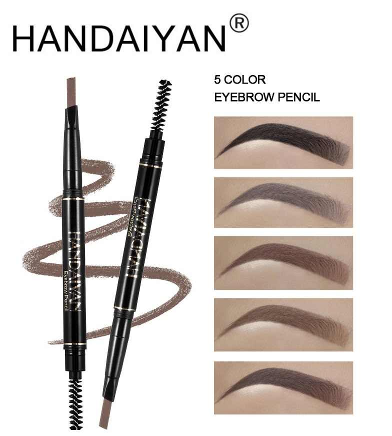 HANDAIYAN 5 Color Double Ended Eyebrow Pencil Waterproof Long Lasting No Blooming Rotatable Triangle Eye Brow Tatoo Pen TSLM2