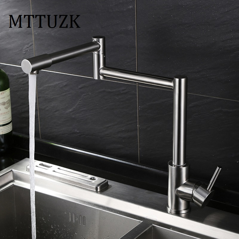 MTTUZK High-quality 304 stainless steel wire drawing folding kitchen faucet 360 rotating vegetable bowl faucet hot&cold tap high quality stainless steel wire drawing water glass holder panel 1pcs for lexus 2016 rx200 rx450h accessories