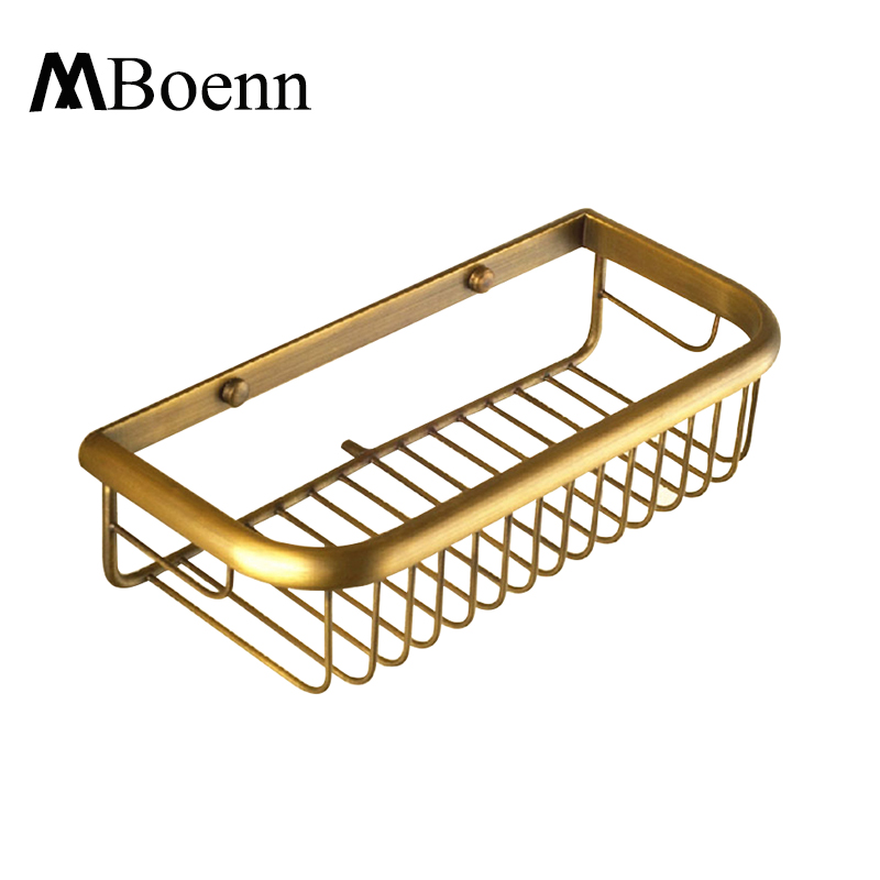 ФОТО Antique Brass Hanging Basket Bathroom Single Layer Net Basket Rack Wall Mounted Classical Bath Shelves
