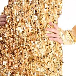 Image 4 - Женское платье для латиноамериканских танцев, юбка с бахромой и блестками, профессиональный костюм для латиноамериканских танцев