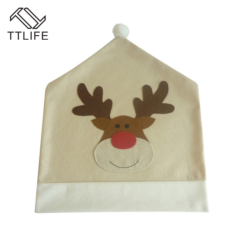 TTLIFE 1Pc Christmas Chair Covers Elk Brown Hat For Xmas Party Dinner Decor Home Kitchen Decoration Ornaments Supplies
