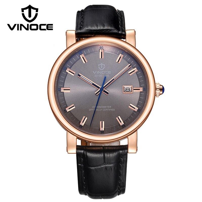 купить VINOCE Mens Watches Top Brand Luxury Genuine Leather Band Men Clock 30M Waterproof Relojes Hombre 2018 Quartz Watches #V6289G по цене 3854.78 рублей