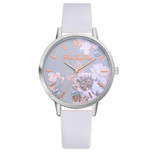 New fashion branded watch women watches quartz Printed Flower clock leather stra