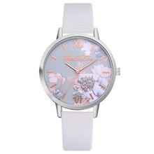Nowy moda markowe zegarek kobiety zegarki kwarcowy drukowane kwiat zegar skórzany pasek zegarek dla kobiet prezent Relogio feminino C tanie tanio 39mm Quartz Stopu Skórzane Okrągłe No waterproof Szklane Zegarek damski Bowake Fashion Casual Klamra 16mm 24cm Brak