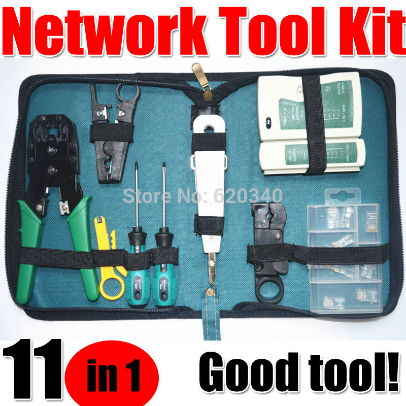 Free Shipping 11 in 1 Telecommunications Maintenance Tools Set, NS 468 Network Cable Tester , 3 Way Crimper Tool, Cable Stripper