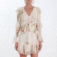 100% шелк глупость Flutter Dress с длинным рукавом глубоким v образным вырезом с цветочным принтом рюшами Мини платья с пояс сезон: весна–лет