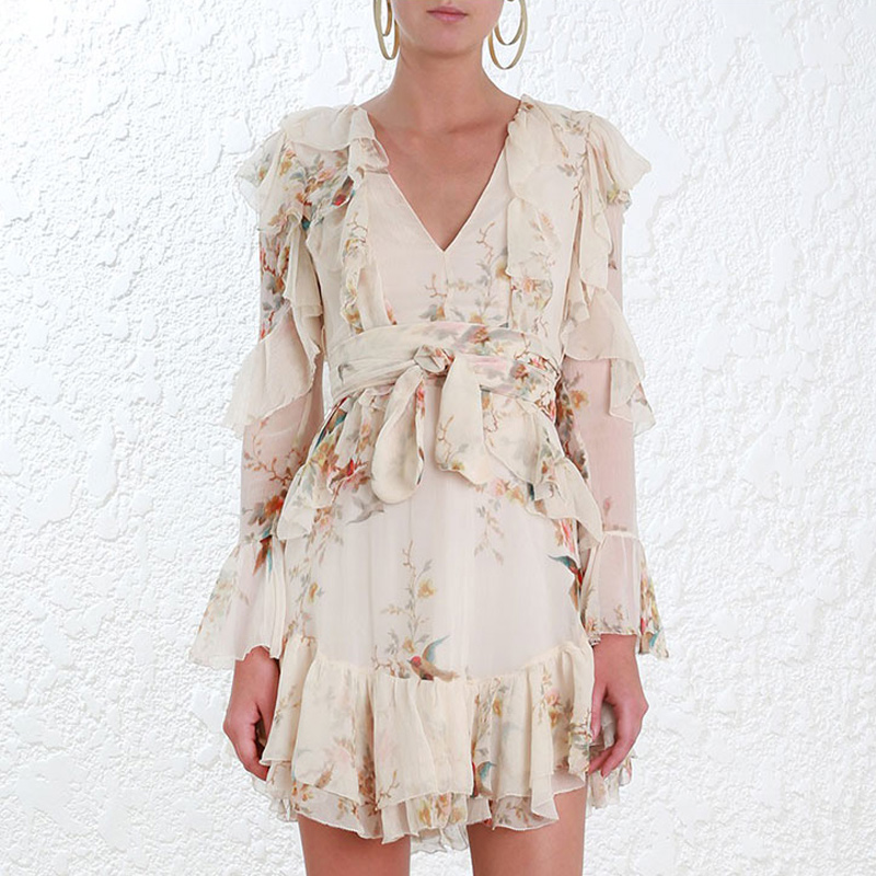 100% Silk Folly Flutter Dress Long Sleeve Deep V Neck Floral Printed Ruffle Mini Dresses With Waist Belt Spring Summer flutter sleeve elastic waist floral dress
