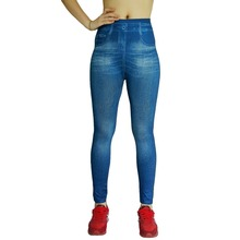 2017 Sexy Pure Color Printed Denim Women Leggings ;Fashionable Girls Leggins High Waist Elastic Slim Plus Size Legins Jeggings