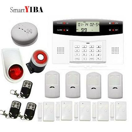 SmartYIBA Voice Prompt LCD GSM Alarm Home Security with Smoke Sensor SMS Autodial Wireless Burglar Alarm