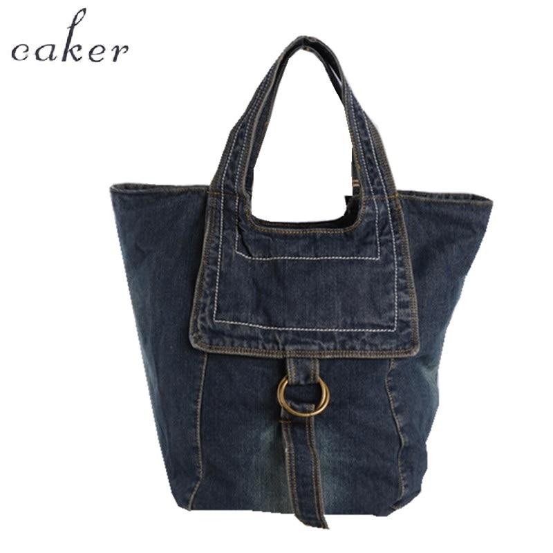Caker Brand 2018 Women Large Big Denim Jeans Handbag Light Dark Color Shoulder Bags Fashion Quality Denim Shoulder Bags Handbag